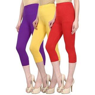 Skyline Pack Of 3 Purple, Yellow  Red Cotton Lycra Capris (SkylineCSDCAPRI467)