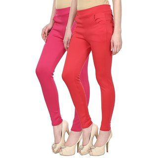 Skyline Pack of 2 Pink  Red Poly Lycra Treggings (SkylineCSDTRGB68)