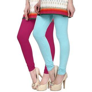 Skyline Pack of 2 Pink  Sky Blue Cotton Lycra Leggings (SkylineCSDLC13)