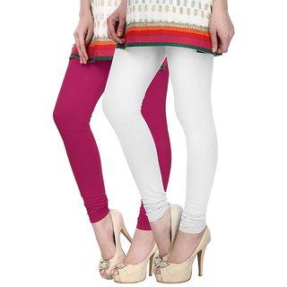 Skyline Pack of 2 Pink  White Cotton Lycra Leggings (SkylineCSDLC16)