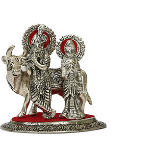 Buy White Metal Lord Radha Krishna Idol With Cow Online 944