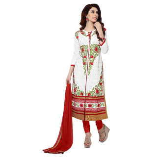 Jiya Presents Embroidered Glaze Cotton Dress Material (BTMCRDSB41051)