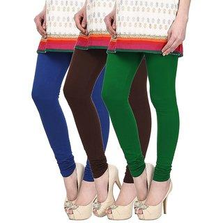Skyline Pack of 3 Blue, Brown  Green Cotton Lycra Leggings (SkylineCSDLC1258)