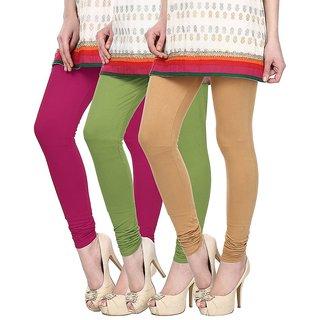 Skyline Pack of 3 Pink, Green  Beige Cotton Lycra Leggings (SkylineCSDLC127)