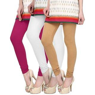 Skyline Pack of 3 Pink, White  Beige Cotton Lycra Leggings (SkylineCSDLC167)