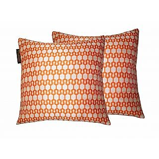 Lushomes Orange Polyester Jacquard Cushion Covers 16 x 16 Pack of 2