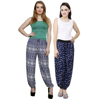Grand Bear Multicolor Printed Women Harem Pant Set Of 2 (GBWPL-BLU-BRDR-21-BLU-GOG-03)