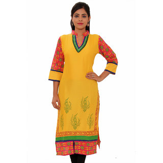Vasavi Premium Quality Yellow Colour Cotton Kurti VJKMSN114
