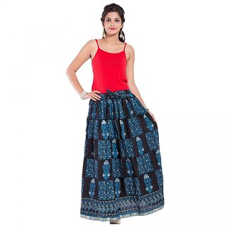 Decot paraadise Blue color Printed Cotton long skirt For Womens