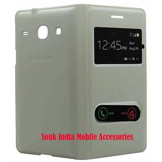 Snaptic Hi Grade White S View Flip Cover for Samsung Galaxy Grand Duos I9082