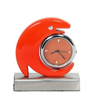 Dolphin Table Clock Glossy Orange