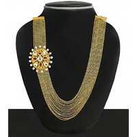 Zaveri Pearls Gold Plated White Alloy Necklace Set For Women
