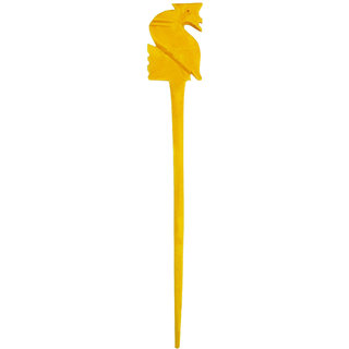Peacock Desing Marble Made Long Hair Stick Yellow color