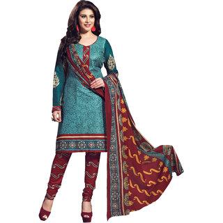 Parisha Green Cotton Printed Kurta & Churidar Dress Material