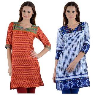 Sai Ruchi Printed A-line Casual Wear Regular Fit Kurti (Multicolor)