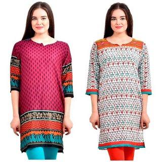 Sai Ruchi Printed A-line Casual Wear Regular Fit Kurti (Purple-Orange)