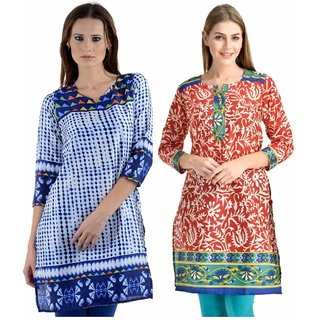 Sai Ruchi Printed A-line Casual Wear Regular Fit Kurti (White-Red)
