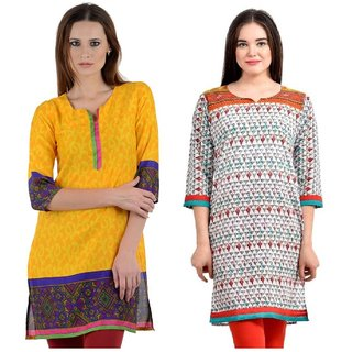 Sai Ruchi Printed A-line Casual Wear Regular Fit Kurti (Yellow-Orange)