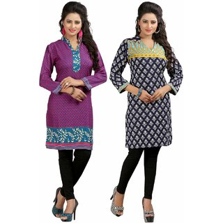 Sai Ruchi Printed A-line Casual Wear Regular Fit Kurti (Blue-Orange)