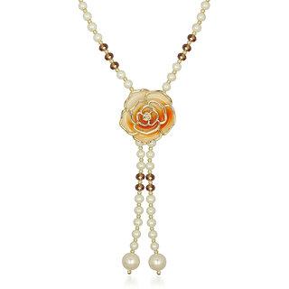 Urthn Orange Rose Floral Pearl Mala Pendant - 1201607