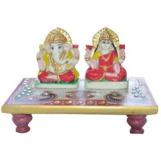 Hgiri International Traders Glossy Marble Laxmi Ganesh Choki