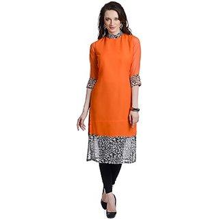 Chandigarh Fashion Mall Orange Printed Georgette Straight Kurti