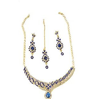 PRIYA COLLECTION Gold and Blue Jewellery Set For Women