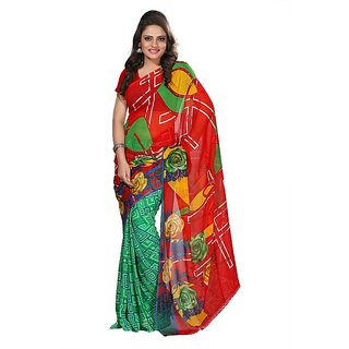 Aaina Red Faux Georgette Printed Saree