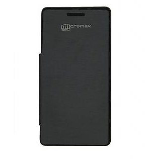 Snaptic Premium Leather Flip Cover For Micromax Canvas A300 Black