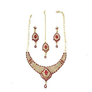 PRIYA COLLECTION Gold and Maroon Jewellery Set For Women