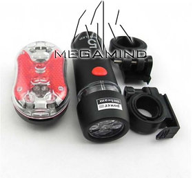5 LED Head  5 LED Tail Light Kit For Bike Bicycle Cycle Torch Headlight Lamp