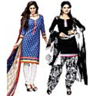 Drapes Blue And Black Cotton Block Print Salwar Suit Dress Material (Pack of 2)
