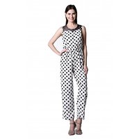 Westrobe Black,White Crepe Dotted Jumpsuits For Women