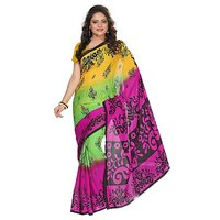 Aaina Yellow  Pink Faux Georgette Printed Saree (FL-3185-D)