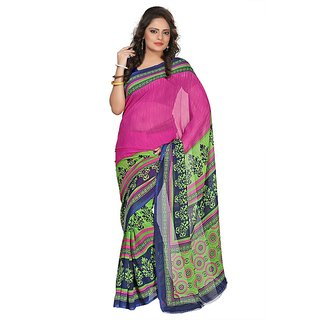 Aaina Pink Faux Georgette Printed Saree (FL-3192-A)