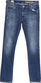 Umbro Slim Fit Men Jeans blue in color fabric cotton pattern solid