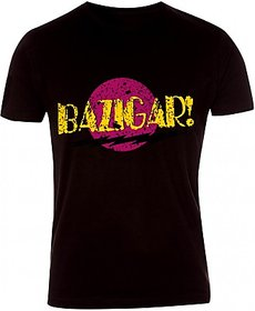 Dharod Printed Men Round Neck TShirt made of luxury cotton black in color