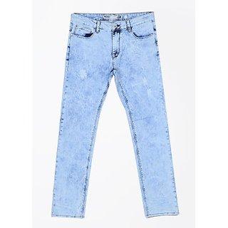 D Squad Men's Solid  Slim Fit Sky Blue Jeans