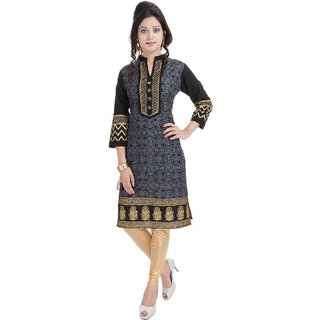 Bariclub Black And Sliver Cotton Printed Kurti