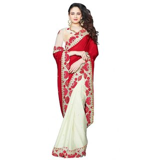 Triveni Multicolor Chiffon Self Design Saree With Blouse