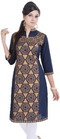 Bariclub Blue Embroidered With Gold Print Cotton Kurti