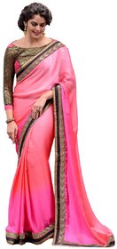 20Dresses Pink Satin Embroidered Saree With Blouse