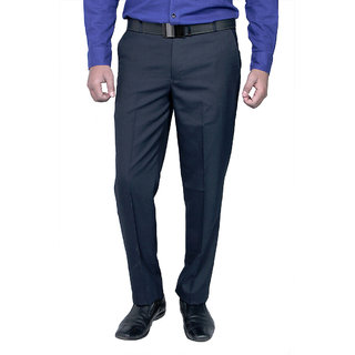 Routeen Men's Blue Slim Fit Formal Trousers