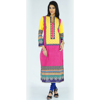 Alokaa casual yellow embroidered kurti