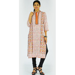 Alokaa casual orange printed kurti
