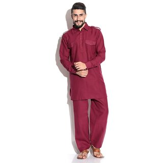 Four Pocket Maroon Pathani Suit