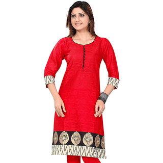 Fashion Point Red Cotton Silk Kurti