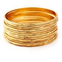 Pari Set of 12 Gold Plated Thin Bangles