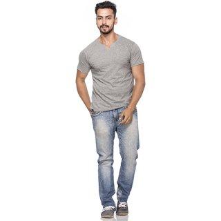 Demokrazy Men's Grey Round Neck T-Shirt