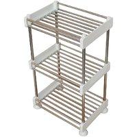Stainless Steel 3 Tier Rectanglular Tray Shelf Storage Rack